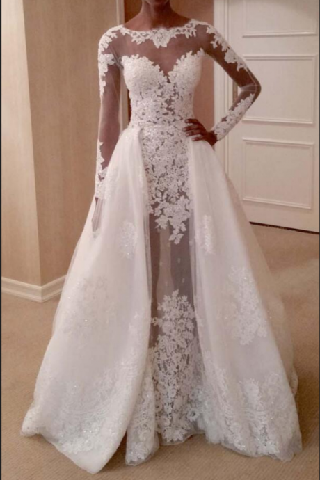Lace Wedding Dress,Long Sleeves with Removable Train,Fit to Flare Wedding Dresses