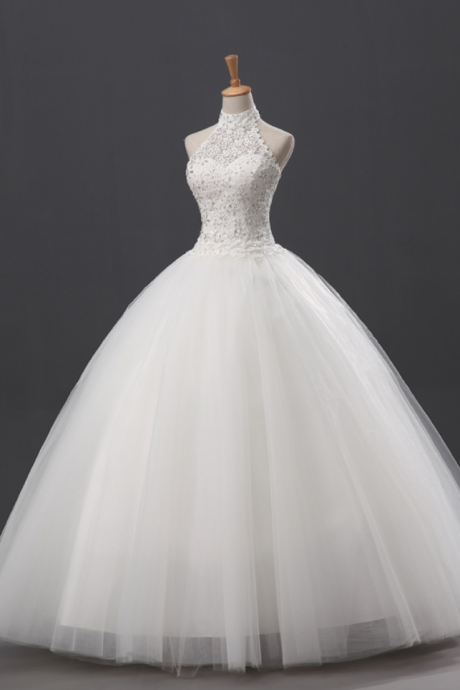 Lace and Beaded Embellished High Halter Neck Floor Length Tulle Wedding Gown
