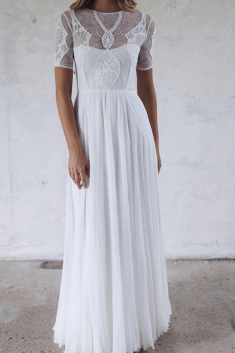 Sheer Lace Short Sleeved Chiffon A-line Floor-Length White Wedding Dress, Bridal Gown