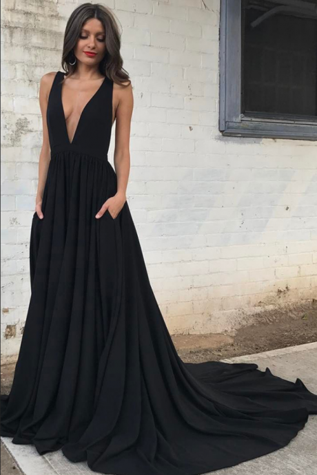 Custom Made Black Plunging V-Neckline Backless Chiffon Long Evening Dress, Prom Dress, Wedding Dress, Bridesmaid Dresses