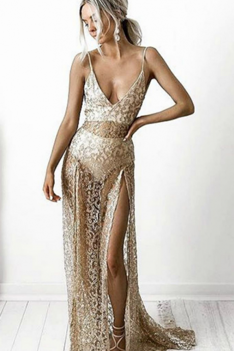 Sheath Spaghetti Straps Split-Side See-Throuth Champagne Lace Prom Dress