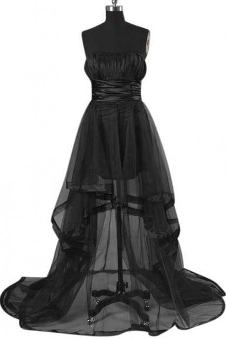 Sexy Strapless A-line Hi-lo Tulle Black Prom Dress With Sash