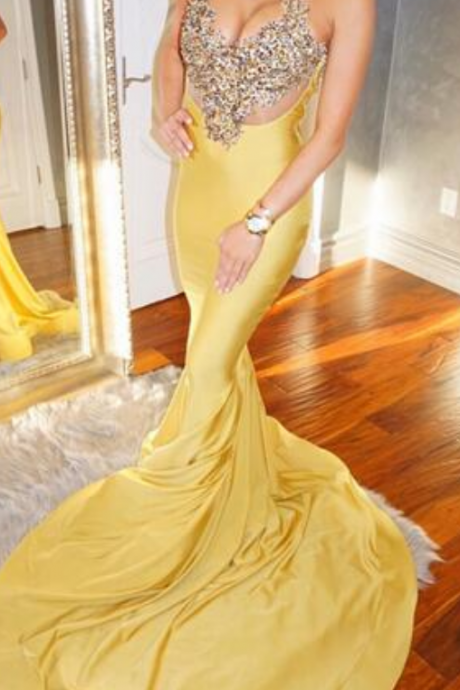 Cheap prom dresses , Yellow Mermaid Satin Prom Dresses High Neck