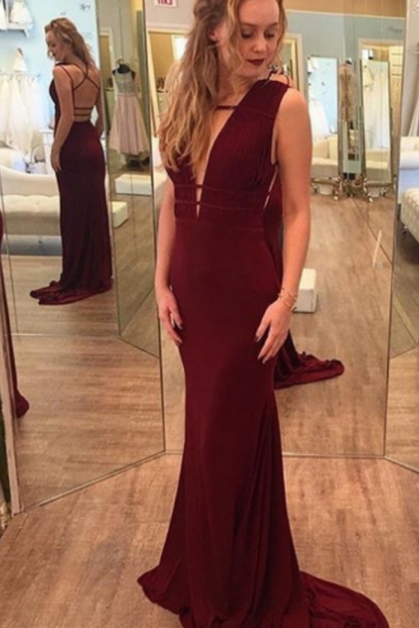 Cheap prom dresses ,Burgundy Chiffon Prom Dress Mermaid Long Party Graduation Party Dress Backless Formal Gowns Evening Dresses with Train