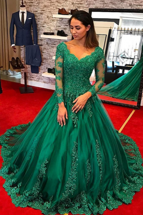 Cheap prom dresses ,Emerlad Green Ball Gown Prom Dresses Saudi Arabic Sexy Low V-Neck Long Sleeves Formal Party Gowns Lace Evening Dress vestidos de graduacion largo