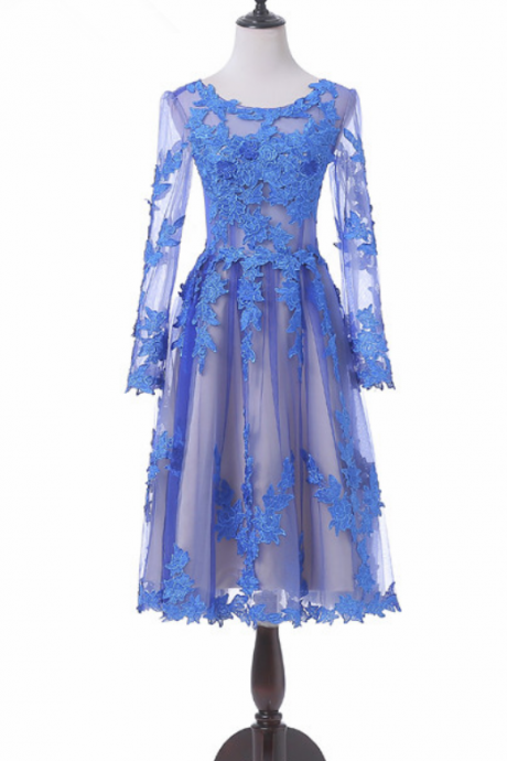Transparent of sexy long-sleeved Homecoming dresses brief paragraph coat blue ball gown