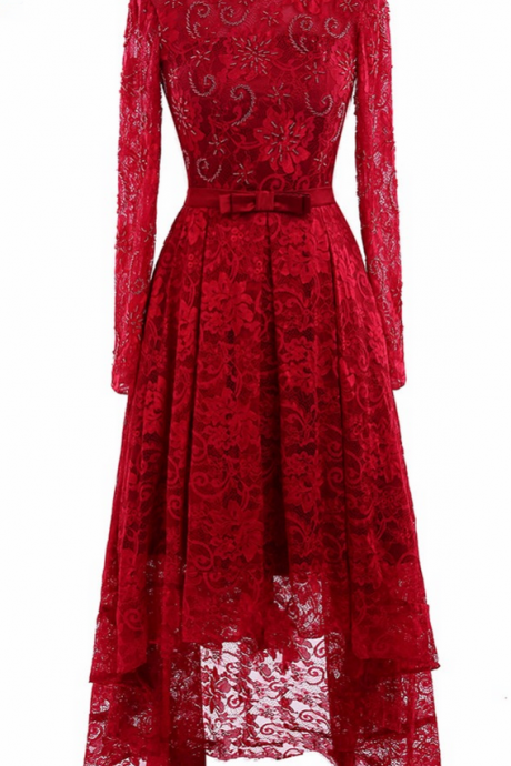 Real photo red lace long sleeve in the evening, key harness homemade dress dress PROM dress