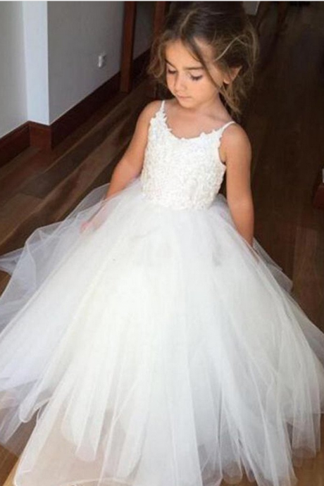 Spaghetti Lace Top White Tulle Hot Sale Flower Girl Dresses For Wedding Party,