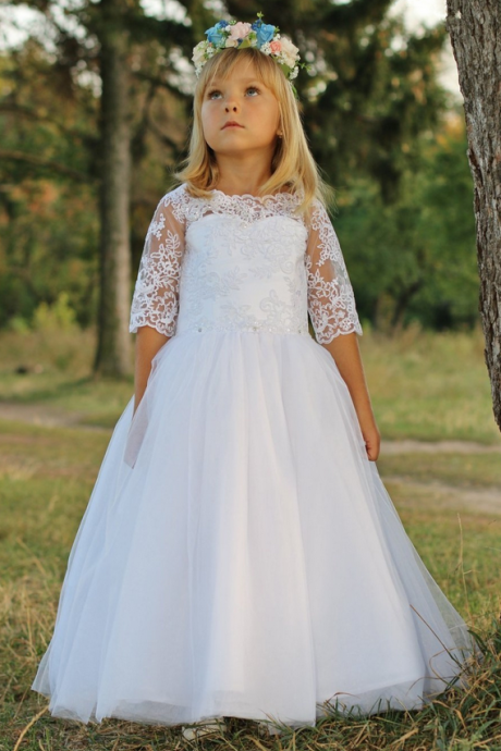 Lovely First Communion Dresses for Girls Half Sleeves Flower Girl Dresses,Girl Pageant Gown Appliques Lace Toddler Holy Communion Dresses for Wedding