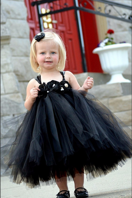 Formal Tea Length Flower Girl Dresses Children Birthday Dress Tulle Kids Wedding Party Dresses