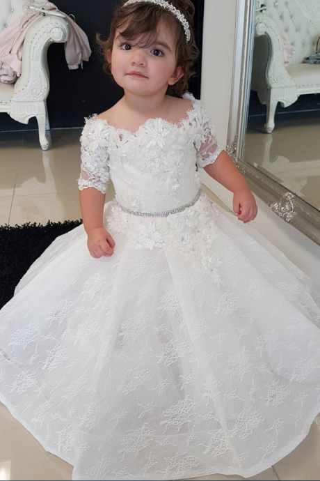 Half Sleeves Fluffy Lace Flower Girl Dress with Flowers