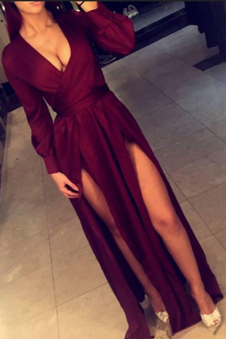 V-Neck Prom Dress,Front Slit Prom Dresses,Evening Dress