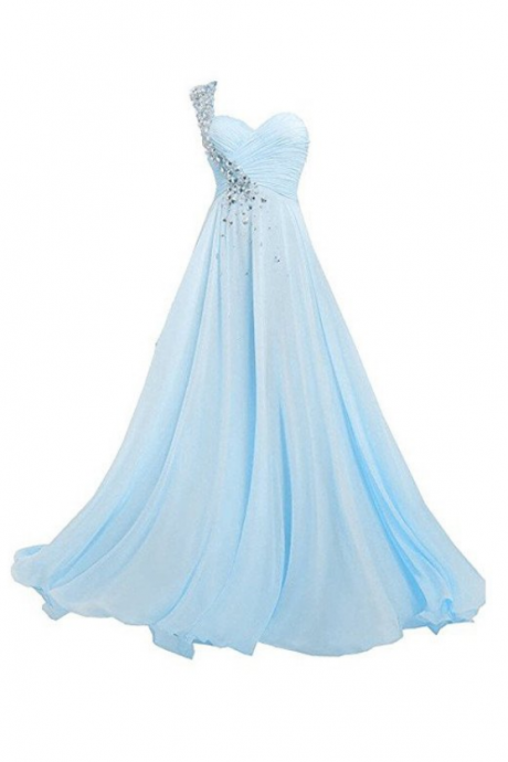 sky blue chiffon one shoulder chiffon cheap long prom dress,