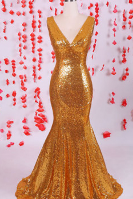 Shiny Gold sequins prom dress, mermaid prom dress,V-neck prom dresses ,Sexy prom dress,Long prom dress,evening party dresses,special occasion dresses