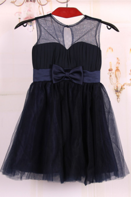 Cheap A line Princess Knee Length Tulle Navy Blue Flower girl dresses with sash and bow,baby dress