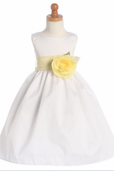 new flower girls dress White Poly Dupioni Dress Detachable Sash Tulle Flower Girl Dress With Elegant Sash And Bow