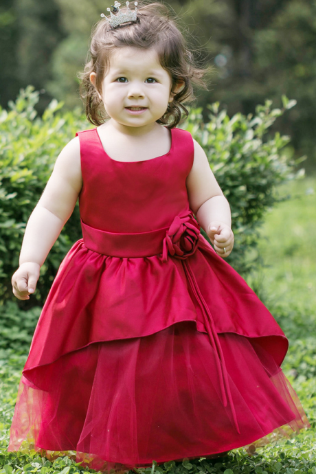 Lovely Beauty Baby Dress Red Graceful Little Princess Girls first Communion Dresses High Quality Flower Girl Dresses
