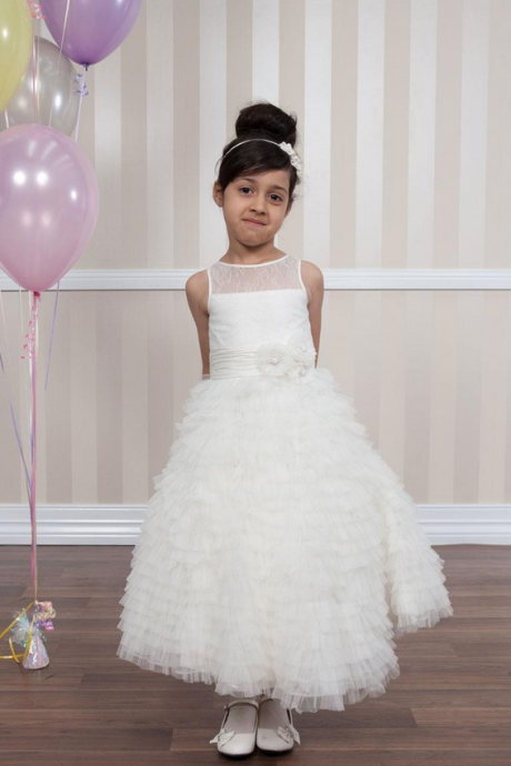 Newest A-Line First Communion Dresses Big Girl Flower Gown,Jewel Sleeveless Covered Buttons Lace Bodice Girl Pageant Dress