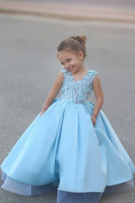 Popular Floor Length Flower Girls Dresses for Wedding First Communion Gown Blue Pageant Dresses for Girls Flower Kids Gowns