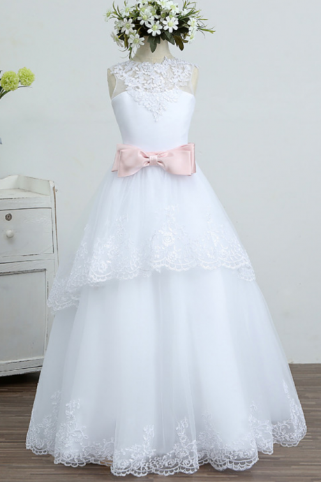 Lace Flower Girls Dresses Vestidos De Primera Comunion Communie Jurk Meisje Kids Evening Gowns Sleeveless Sashes