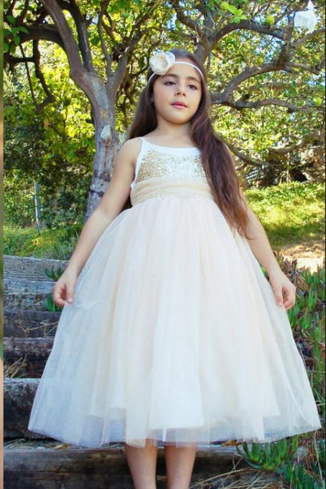 Tea Length Flower Girl Dresses Children Birthday Dress Sequin Spaghetti Strap Kids Wedding Party Dresses