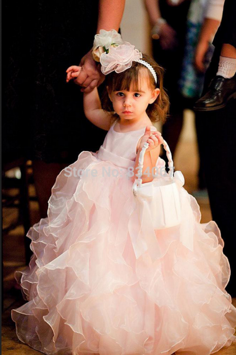 Ruffle Floor Length Flower Girl Dresses Children Birthday Dress Organza Kids Wedding Party Dresses