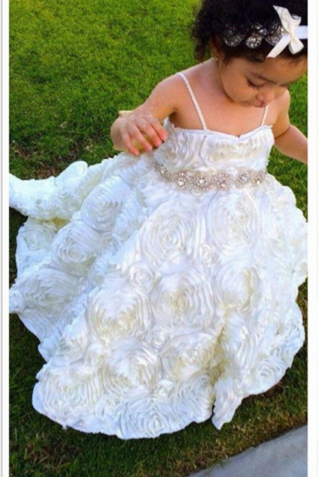 Formal Backless Spaghetti Strap Ball Gown Flower Girl Dresses Kids Wedding Party Dresses