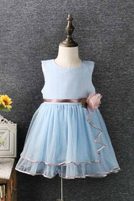 In Stock Blue Cotton Tulle Organza Flower Girl Dresses,Cute Children Clothes,Girls Clothing