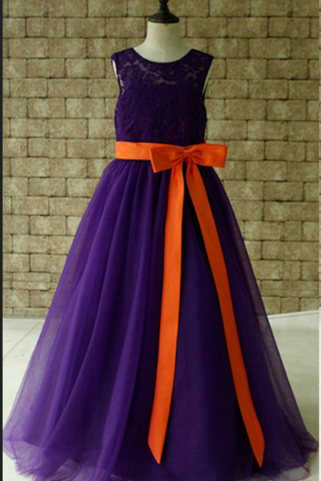 Purple Lace Flower Girl Dress Floor Length with Orange Sash and Bow Birthday Dress Made For Girls, Toddlers
