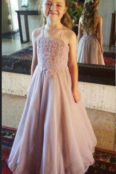 Halter Backless Flower Girl Dresses For Wedding Lace Appliques A Line Cameo Brown Girls Pageant Gowns Cheap Kids Formal Party Dresses