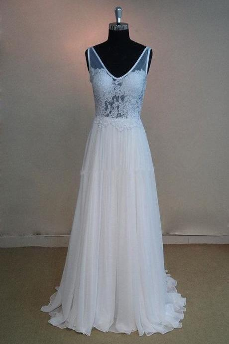 Pretty White Handmade Open Back White Chiffon Floor Length Prom Dress with Applique, White Formal Dresses, White Evening Dresses