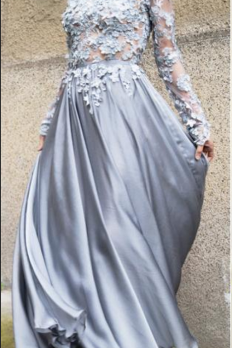 Gray Long Sleeves Prom Dress