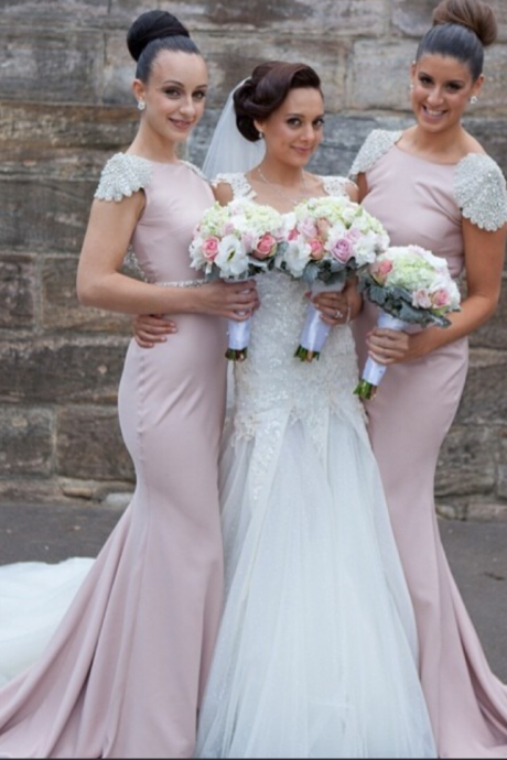 Mermaid bridesmaid dresses,Simple bridesmaid dresses,cap sleeves bridesmaid dress,custom bridesmaid dress,