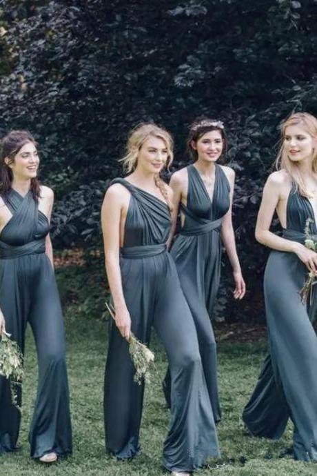 Cheap Custom Convertible Bridesmaids Dresses Sexy Mix Necklines Gray Open Back Spandex Plus Size Bridesmaid Pant Suit Beach
