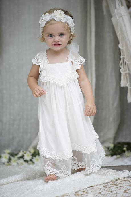 Adorable Ivory Long Flower Girl Dress