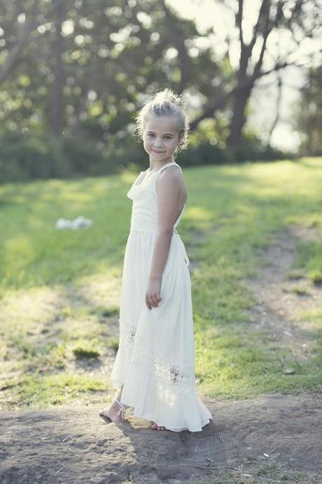 Straps Ivory Long Flower Girl Dress