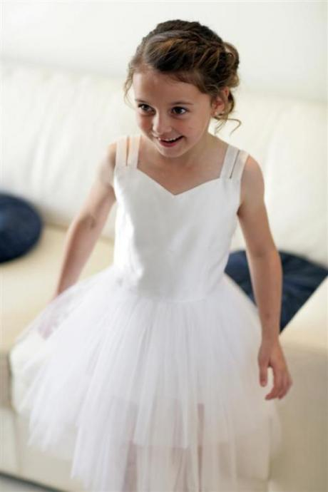 Cute A-line White Long Flower Girl Dress with Criss Cross