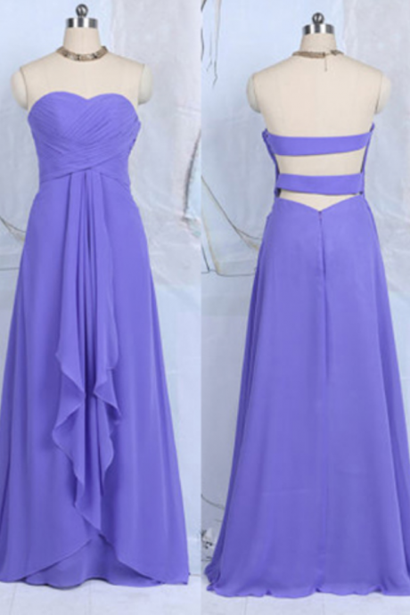 Blue Violet Bridesmaid Dresses with Ruffles, Sweetheart Chiffon Bridesmaid Dresses, Floor-length Open Back Bridesmaid Dresses