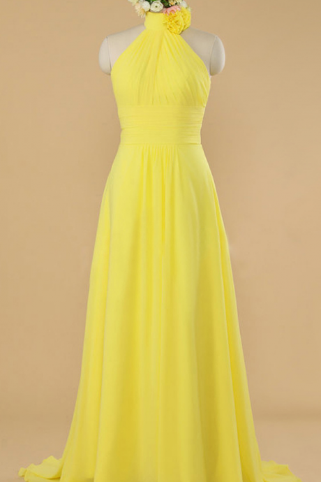 High Neck Yellow Halter Flower Floor Length Bridesmaid Dress, Sunbeam A-line Sweep Train Bridesmaid Dress, Princess Chiffon Long Bridesmaid Dress,