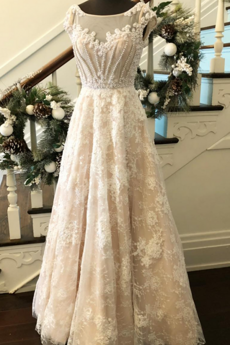 Elegant A-Line Bateau Cap Sleeveless Lace Long Prom Dress With Beading,