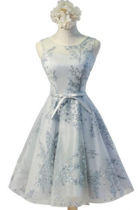 Light Blue Floral Embroidery Sheer Illusion Neckline Homecoming Dress