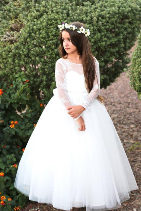 Flower Girl Dress, Princess Pure White Backless Long Sleeves Flower Girl Dresses Long Girls Holy Communion Dress Kids Formal Wedding Party Gowns,