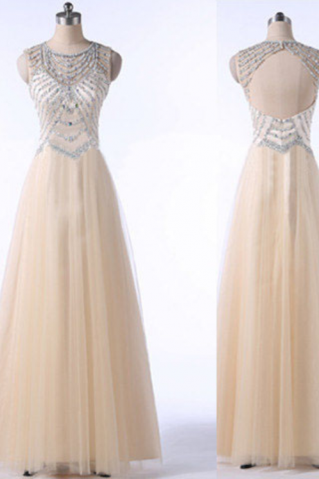 long prom dress, champagne prom dress, open back prom dress, tulle prom dress, elegant prom dress, available prom dress