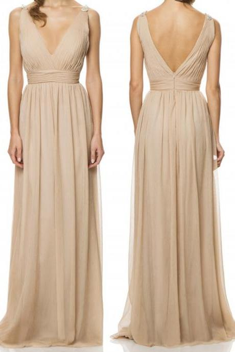 Chiffon Plunge V Sleeveless Floor Length A-Line Bridesmaid Dress Featuring Beaded Embellishment