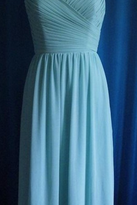 Custom Made Light Blue Ruched Bodice Chiffon Long Bridesmaid Dress