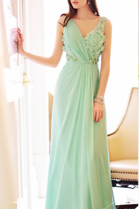 Mint Green Sleeveless Chiffon Long Bridesmaid Dress with Florals and Crystals