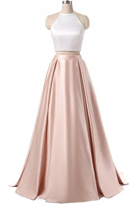 Elegant satins two pieces halter simple long dress for prom,