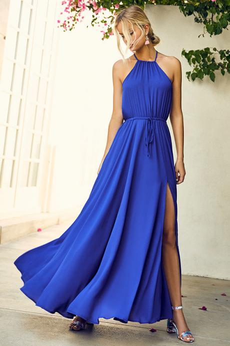 Royal Blue Maxi Dress, Simple Prom Dresses, Chiffon Prom Dress, Sexy Slit Prom Dresses, Long Bridesmaid Dresses, Cheap Prom Gown