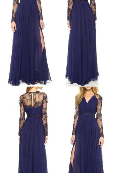 Elegant Navy Blue Long Chiffon A-Line V Neck Slit Prom Dress