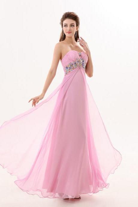 Chiffon Pink Backless A Line Prom Gowns, Pink Sweetheart Backless Beaded Prom Dresses